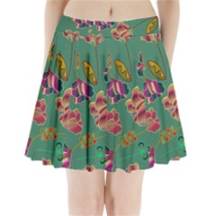 Flowers Pattern Pleated Mini Skirt