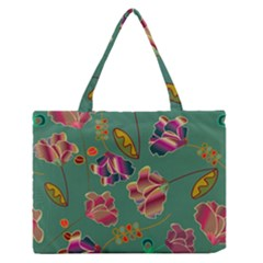 Flowers Pattern Medium Zipper Tote Bag
