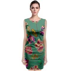 Flowers Pattern Sleeveless Velvet Midi Dress