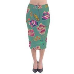 Flowers Pattern Velvet Midi Pencil Skirt