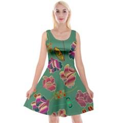 Flowers Pattern Reversible Velvet Sleeveless Dress