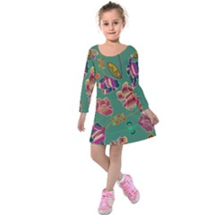 Flowers Pattern Kids  Long Sleeve Velvet Dress