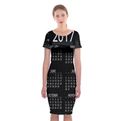 Full 2017 Calendar Vector Classic Short Sleeve Midi Dress