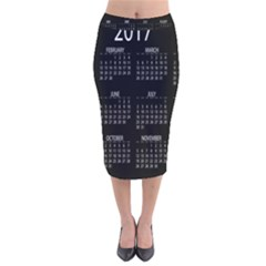 Full 2017 Calendar Vector Velvet Midi Pencil Skirt