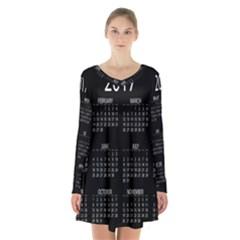 Full 2017 Calendar Vector Long Sleeve Velvet V Neck Dress