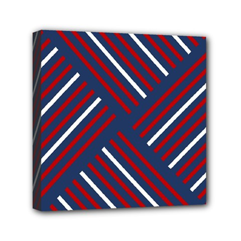 Geometric Background Stripes Red White Mini Canvas 6  x 6