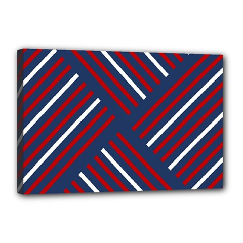 Geometric Background Stripes Red White Canvas 18  x 12
