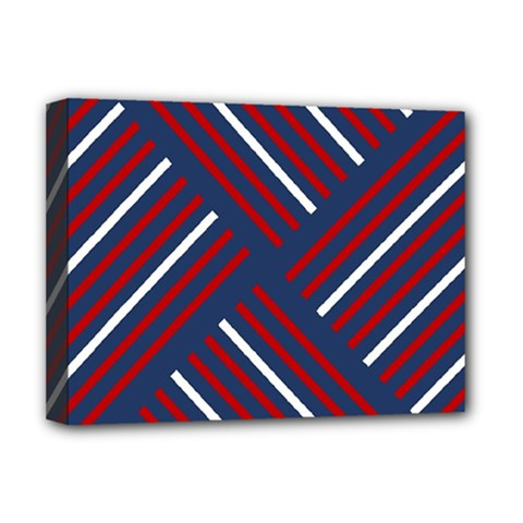 Geometric Background Stripes Red White Deluxe Canvas 16  x 12