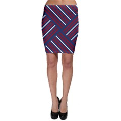 Geometric Background Stripes Red White Bodycon Skirt