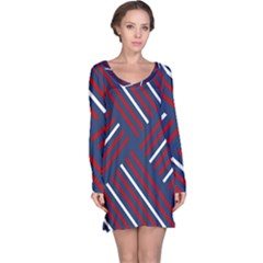 Geometric Background Stripes Red White Long Sleeve Nightdress
