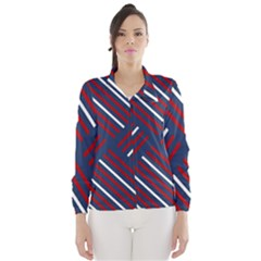 Geometric Background Stripes Red White Wind Breaker (Women)
