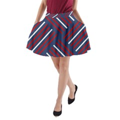 Geometric Background Stripes Red White A-Line Pocket Skirt