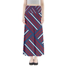 Geometric Background Stripes Red White Maxi Skirts