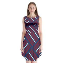 Geometric Background Stripes Red White Sleeveless Chiffon Dress