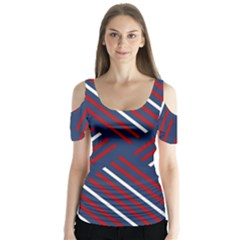 Geometric Background Stripes Red White Butterfly Sleeve Cutout Tee