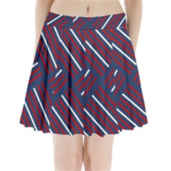 Geometric Background Stripes Red White Pleated Mini Skirt