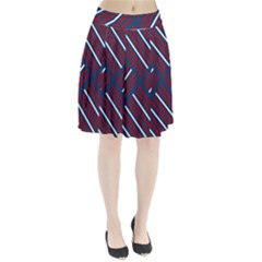 Geometric Background Stripes Red White Pleated Skirt