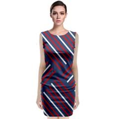 Geometric Background Stripes Red White Sleeveless Velvet Midi Dress