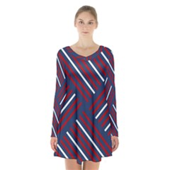 Geometric Background Stripes Red White Long Sleeve Velvet V Neck Dress