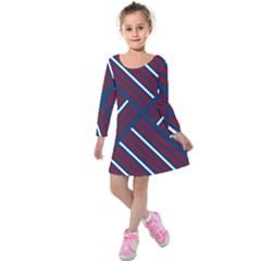 Geometric Background Stripes Red White Kids  Long Sleeve Velvet Dress