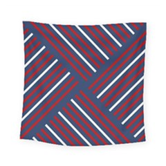 Geometric Background Stripes Red White Square Tapestry (small)