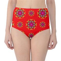Geometric Circles Seamless Pattern High Waist Bikini Bottoms