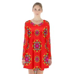 Geometric Circles Seamless Pattern Long Sleeve Velvet V Neck Dress