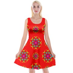 Geometric Circles Seamless Pattern Reversible Velvet Sleeveless Dress