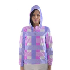 Gingham Checkered Texture Pattern Hooded Wind Breaker (Women)