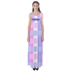 Gingham Checkered Texture Pattern Empire Waist Maxi Dress