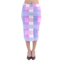 Gingham Checkered Texture Pattern Midi Pencil Skirt