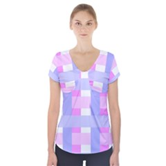 Gingham Checkered Texture Pattern Short Sleeve Front Detail Top