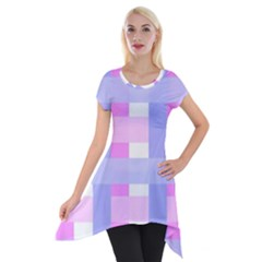 Gingham Checkered Texture Pattern Short Sleeve Side Drop Tunic
