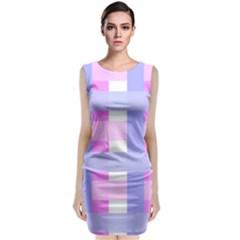 Gingham Checkered Texture Pattern Sleeveless Velvet Midi Dress