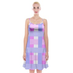 Gingham Checkered Texture Pattern Spaghetti Strap Velvet Dress