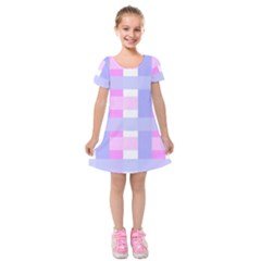 Gingham Checkered Texture Pattern Kids  Short Sleeve Velvet Dress