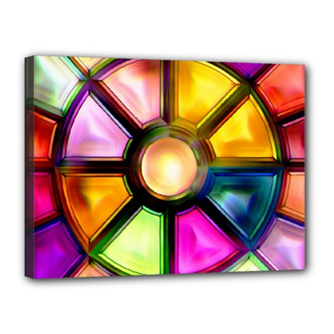 Glass Colorful Stained Glass Canvas 16  x 12