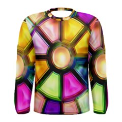 Glass Colorful Stained Glass Men s Long Sleeve Tee