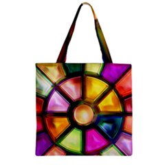 Glass Colorful Stained Glass Zipper Grocery Tote Bag