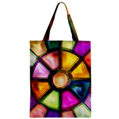 Glass Colorful Stained Glass Zipper Classic Tote Bag