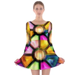 Glass Colorful Stained Glass Long Sleeve Skater Dress