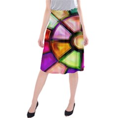 Glass Colorful Stained Glass Midi Beach Skirt