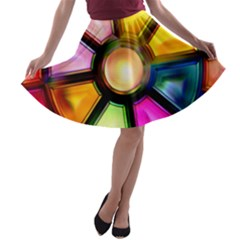 Glass Colorful Stained Glass A-line Skater Skirt
