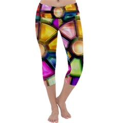 Glass Colorful Stained Glass Capri Yoga Leggings