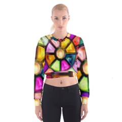 Glass Colorful Stained Glass Women s Cropped Sweatshirt
