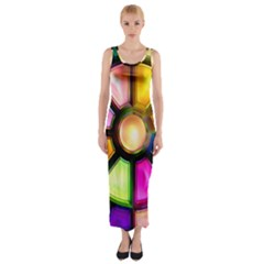 Glass Colorful Stained Glass Fitted Maxi Dress