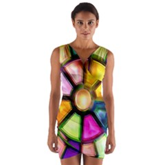 Glass Colorful Stained Glass Wrap Front Bodycon Dress