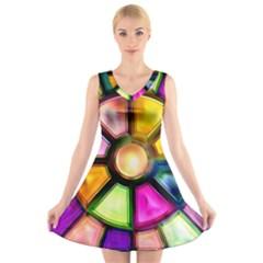 Glass Colorful Stained Glass V-Neck Sleeveless Skater Dress