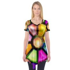 Glass Colorful Stained Glass Short Sleeve Tunic
