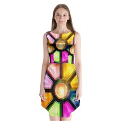 Glass Colorful Stained Glass Sleeveless Chiffon Dress